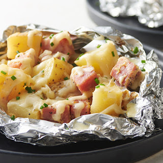 Cheesy Potatoes and Ham Foil Packs.