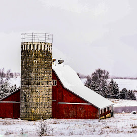 Winter on The farm by Bill Phillips - Buildings & Architecture Decaying & Abandoned ( winter, seasons, farms, snow, architecture, landscapes,  )