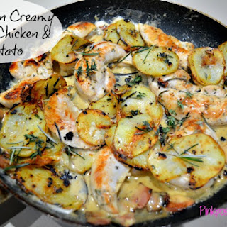 One Pan Creamy Garlic Chicken and Potatoes