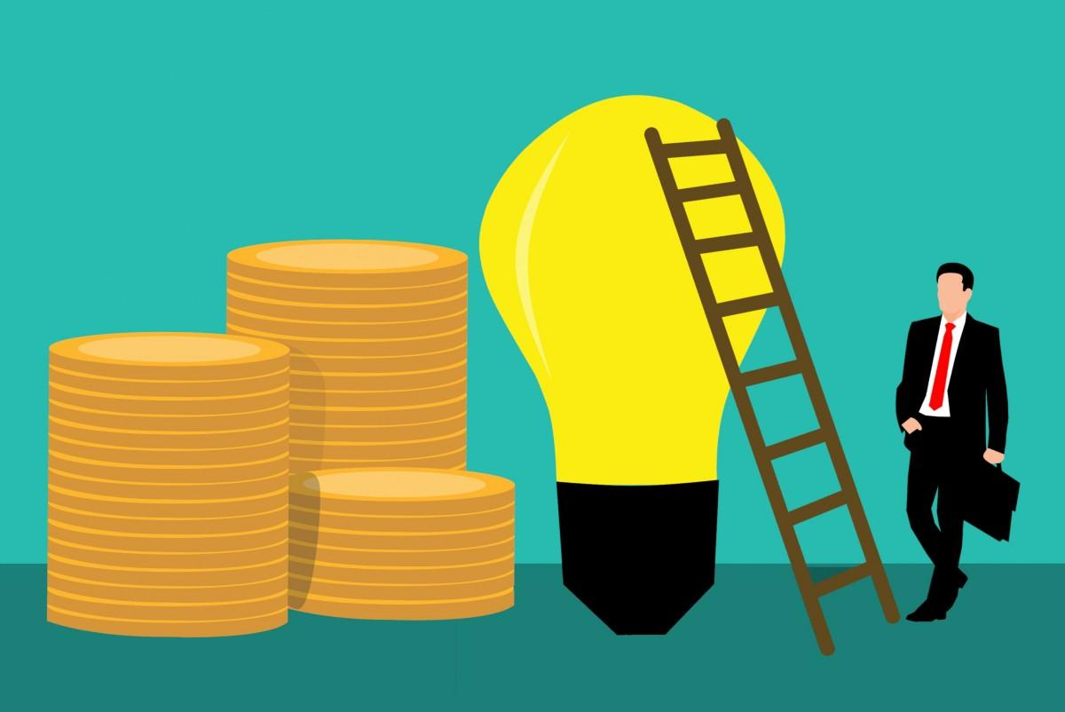 achievement idea climbing bag businessman career coin employee finance grow invest investment ladder leader man money new occupation project startup step success suit suitcase team top up walk work yellow product text font line cylinder energy illustration