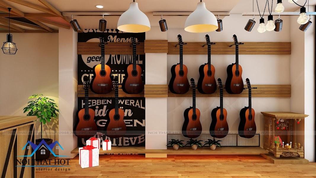 thiết kế nội thất cửa hàng đàn guitar
