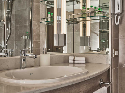 Refined details of the bathroom in the Veranda Suite on Silver Moon.
