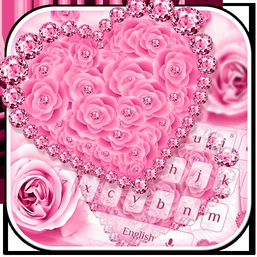 Pink Rose Diamond Keyboard