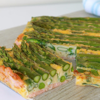 Salmon Crusted Quiche with Asparagus & Peas