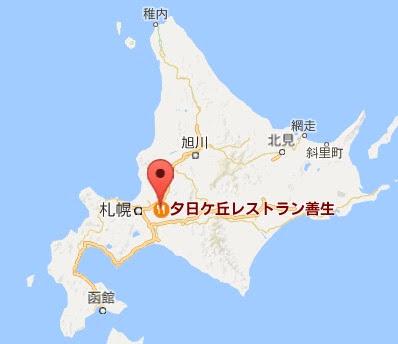 地図:夕日ヶ丘レストラン善生