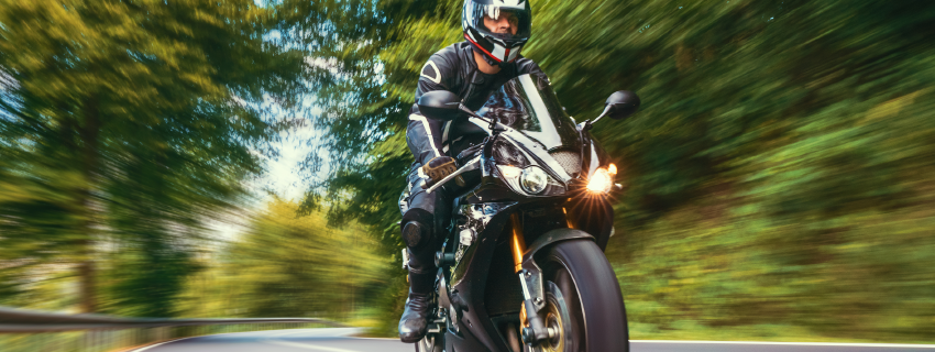 riding a motorcycle