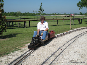 Photo: Doug Blodgett on his 1.5 inch scale narrow gauge 4.75 inch gauge Shay.  HALS-SLWS 2009-0522