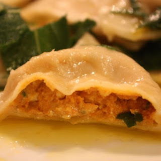 PUMPKIN-CASHEW CHEESE RAVIOLI IN A SAGE BUTTER SAUCE