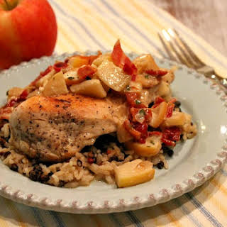 Cheddar- Stuffed Chicken Breasts with Apple- Bacon Pan Sauce.