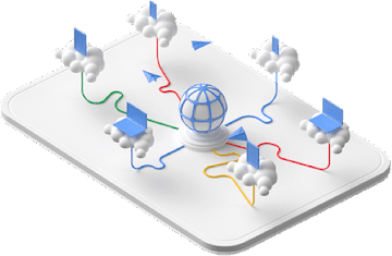 Central sphere connected to six devices on individual clouds.