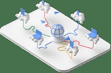Una esfera central conectada a seis dispositivos en nubes concretas.