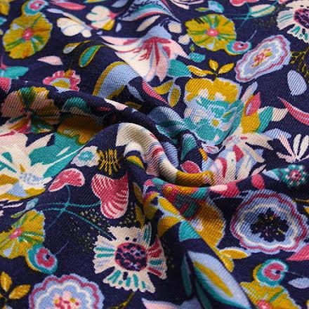 Blommig Viskostrikå - marinblå