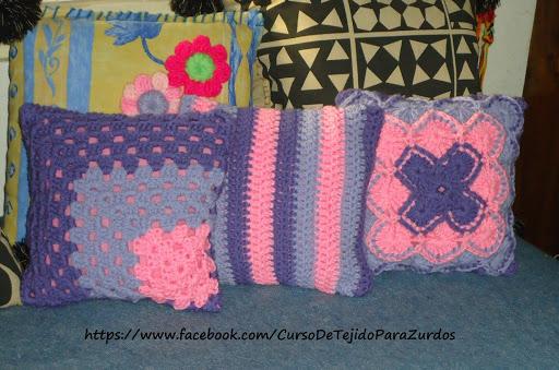 almohadón en bavarian stitch punto fantasía tejido al crochet ganchillo para zurdos