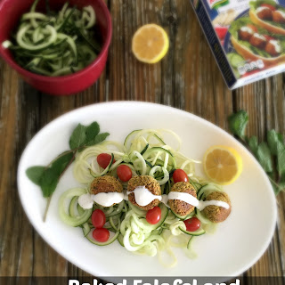 Baked Falafel and Cucumber-Zucchini Noodle Salad