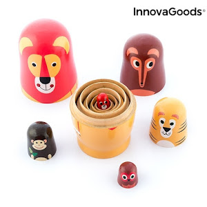 Set figurine din lemn, 11 piese, MATRYOSHKA FUNIMALS, Innovagoods