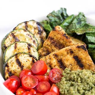 Pesto Quinoa Salad Bowls with Grilled Tofu.