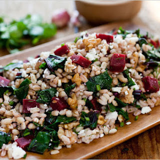 Farro Salad With Beets, Beet Greens and Feta