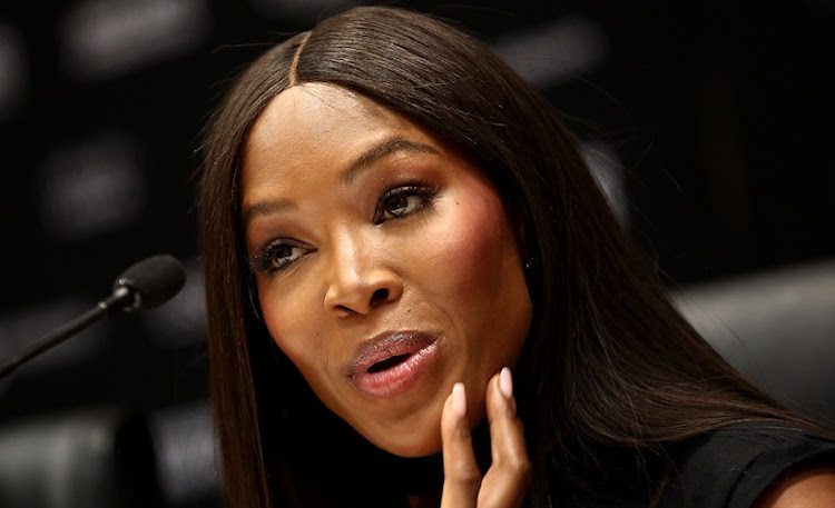 Naomi Campbell at a press conference in Sandton on Monday.