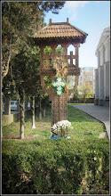 """Photo: Biserica """"Adormirea Maicii Domnului"""" de pe Str. Ioan Opris, Nr.1 - - Troita , sculptura in lemn realizata in anul 2006 de Nelu Copil foto Ana Maria Catalina - 2017.11.08"""