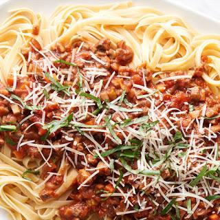 Mushroom Bolognese with Fettuccine.