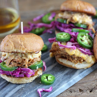 Sweet Apple Whiskey Pulled Pork Sliders and Bourbon Cheese Sauce.