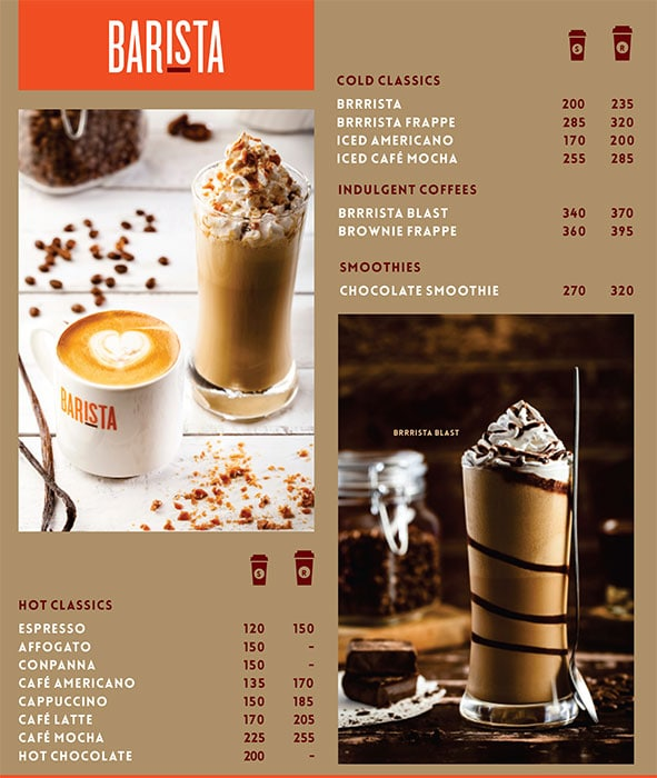 Barista menu 2