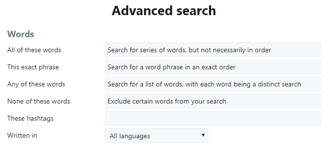 How to use Twitter Advanced Search Dashboard