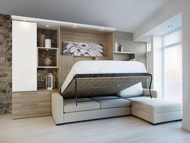 Giường gấp thông minh kết hợp kệ