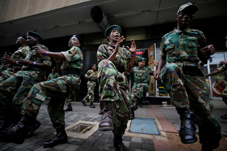 ANC veterans in uniform outside its Johannesburg headquarters. Picture: MIKE HUTCHINGS