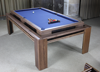 the lingfield pool table converted with blue felt and the triangle set for a game