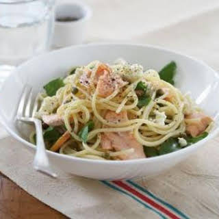 Spaghettini With Salmon, Capers And Ricotta.