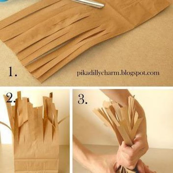 cut the bag like so and begin twisting until you like the pose and...