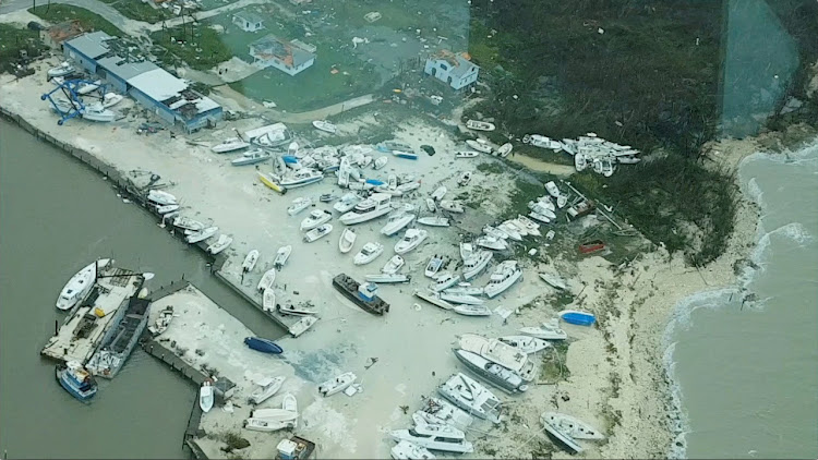 An aerial view shows devastation after hurricane Dorian hit the Abaco Islands in the Bahamas, September 3, 2019, in this still image from video obtained via social media.