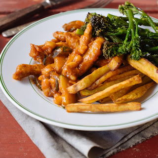 Smoky Barbecue Beans With Pork & Sweet Potato Fries