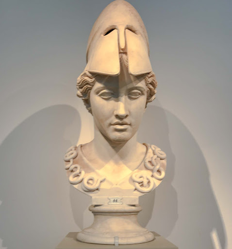 Bust of Athena in the Velletri type, circa 400 B.C., at the Altes Museum in Berlin.
