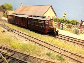 """Photo: 017 The Ford railcar set is an epitome of the Colonel Stephens """"atmosphere"""". This model, built some years ago from a standard gauge 4mm scale kit by Tourgem, was original built by Arthur Budd and is now owned by Graham Lindley, both of the Wessex NG Modellers ."""