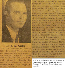 Photo: Dr. Griffis Article, July 1941 Denton Record paper was in Canaan Time Capsule. http://CanaanUMC.net