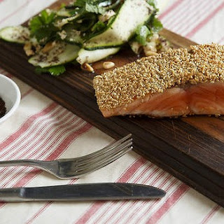 Sesame-crusted Salmon With Zucchini And Cucumber Salad