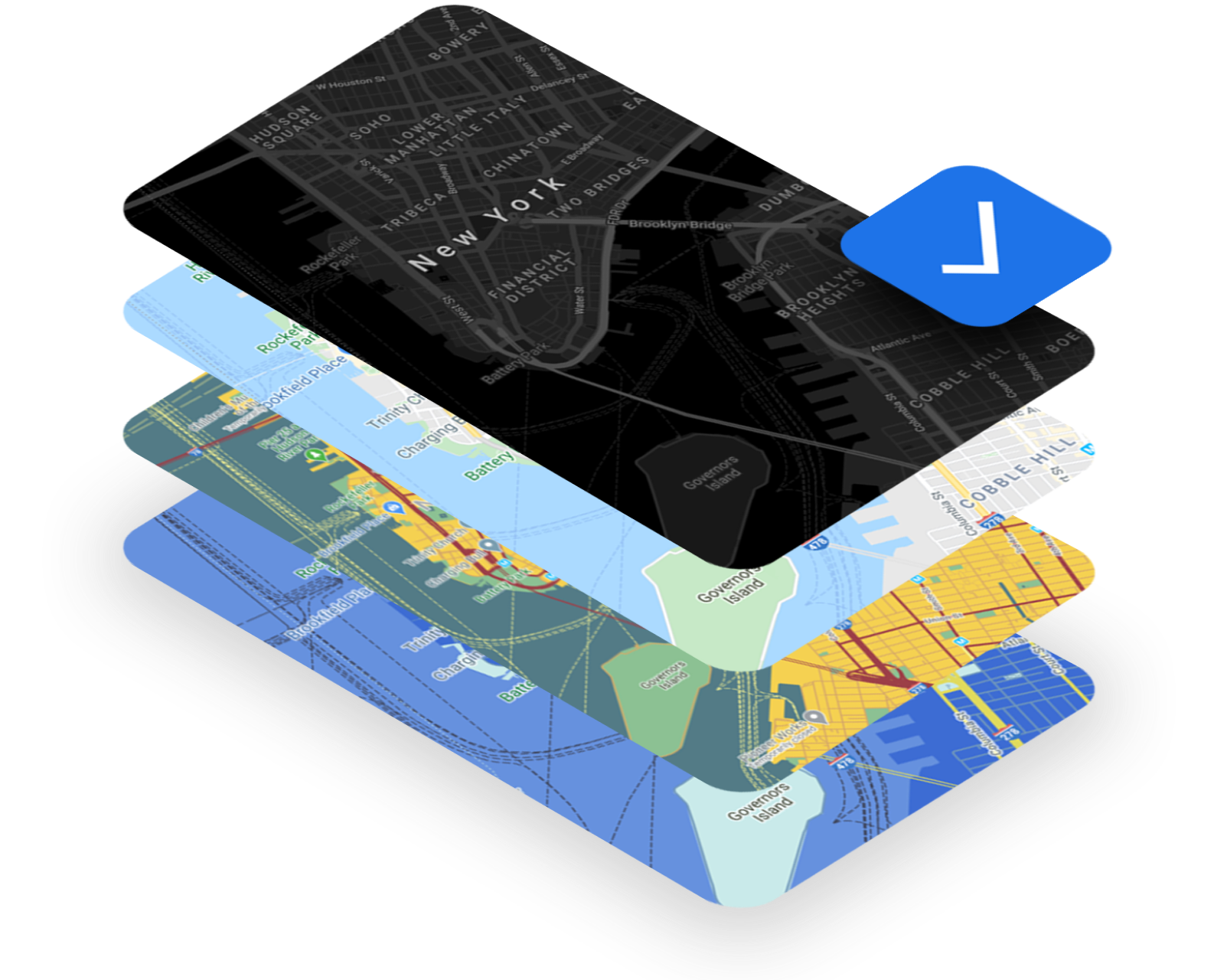 Google Maps in several different colors and styles