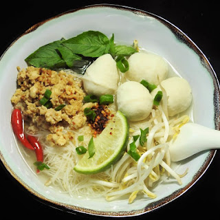 Easy Noodle Soup with Ground Chicken and Fish Balls.