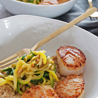 Seared Scallops with Roasted Cauliflower Pesto and Zucchini Noodles