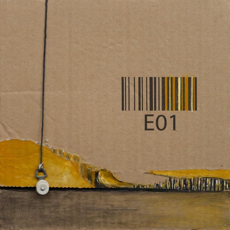 Reel 21x21cm. collage, mixed media on cardboard / Макара смесена техника върху картон