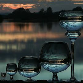 Huge Effort  by Stefan Klein - Artistic Objects Still Life ( glasses, sunrise, still life, artistic, river )