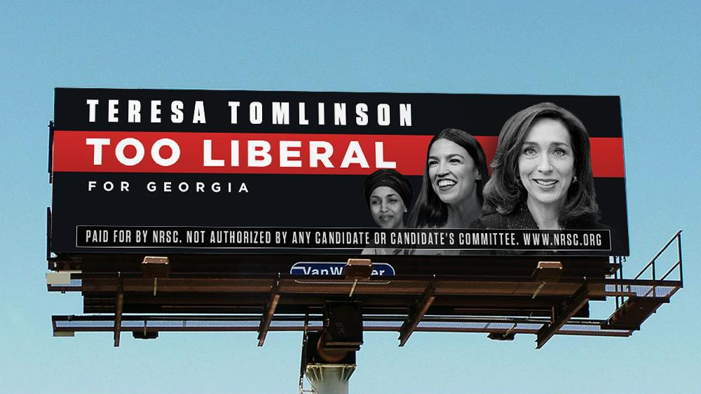 """Billboard by NRSC with the text """"Teresa Tomlinson, too Liberal for Georgia"""", with the faces of 3 candidates"""