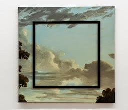 Photo: Cielo inanimado azul (marco menguante) 2014 Óleo sobre tela y molduras 90 x 90 cm