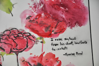 Photo: Close-up of a haiga featuring a poem by Francine Porad: