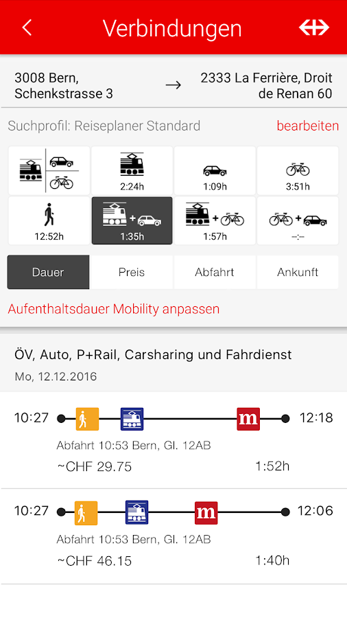SBB Reiseplaner Preview- screenshot