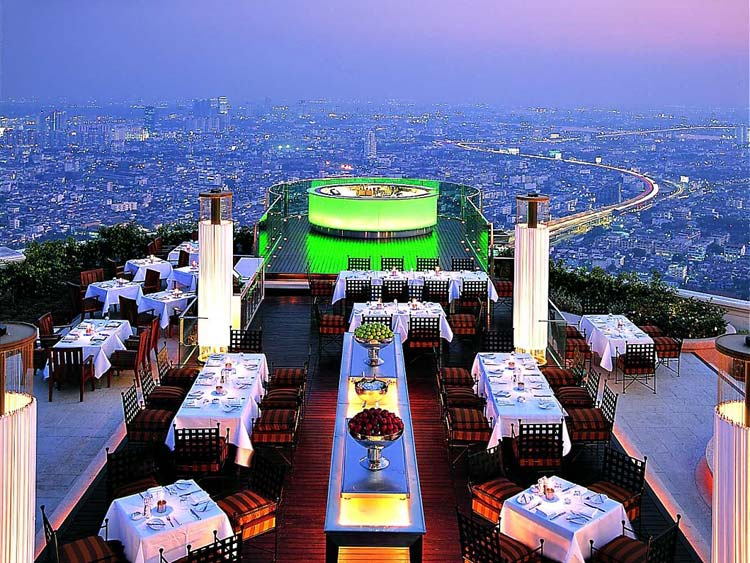 The Sky Bar at Lebua Hotel & Resorts in Bangkok, Thailand.
