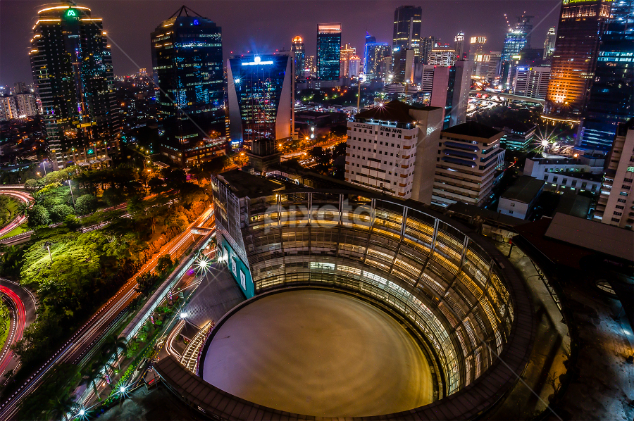 One cloudy night at Jakarta by Erwin Sutarko - City,  Street & Park  Night ( cityscapes, nightshot, indonesia, night, jakarta, cityscape, , city at night, street at night, park at night, nightlife, night life, nighttime in the city )