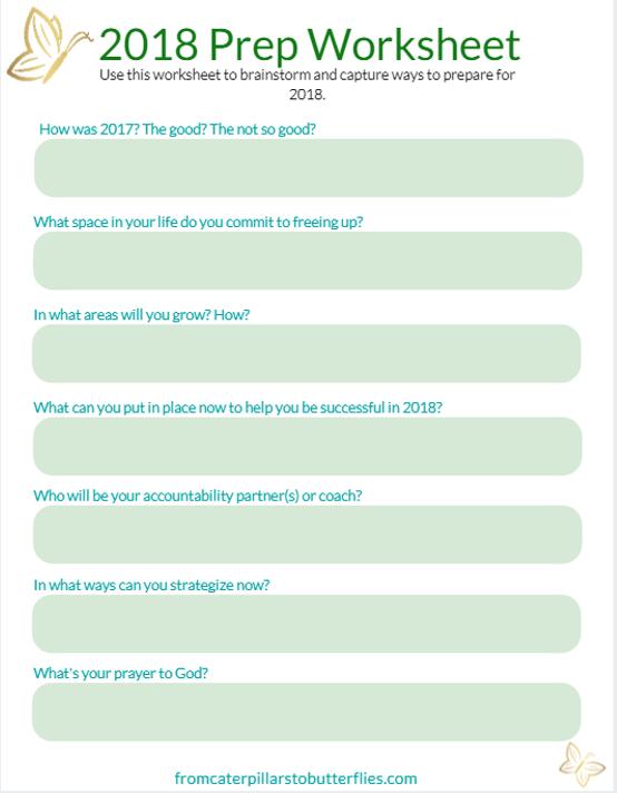 Prepare for 2018 Worksheet